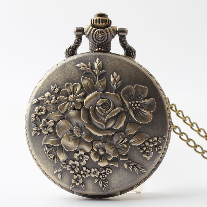 Pocket & Fob Watches  Bronze Rose Flower Carved Quarzt Pocket Watch for Men/Women Gift Watch