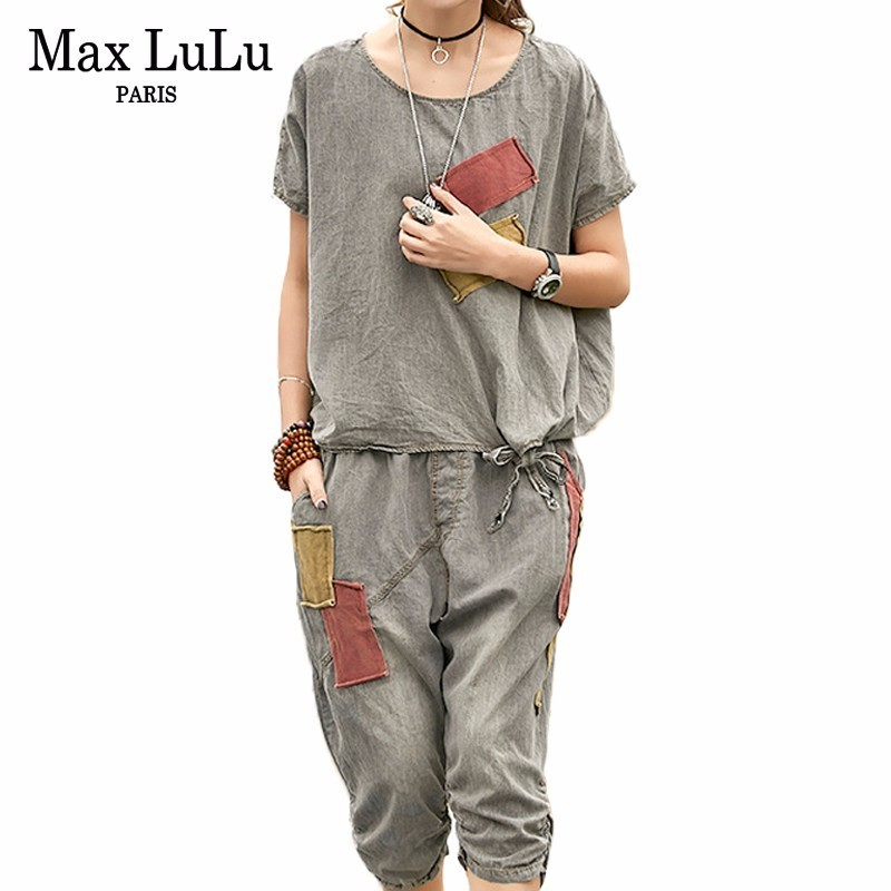 Max LuLu Summer Luxury Korean Tracksuit Ladies Crop Tops And Pants Women Two Pieces Set Casual Outfits Fitness Clothes Plus Size