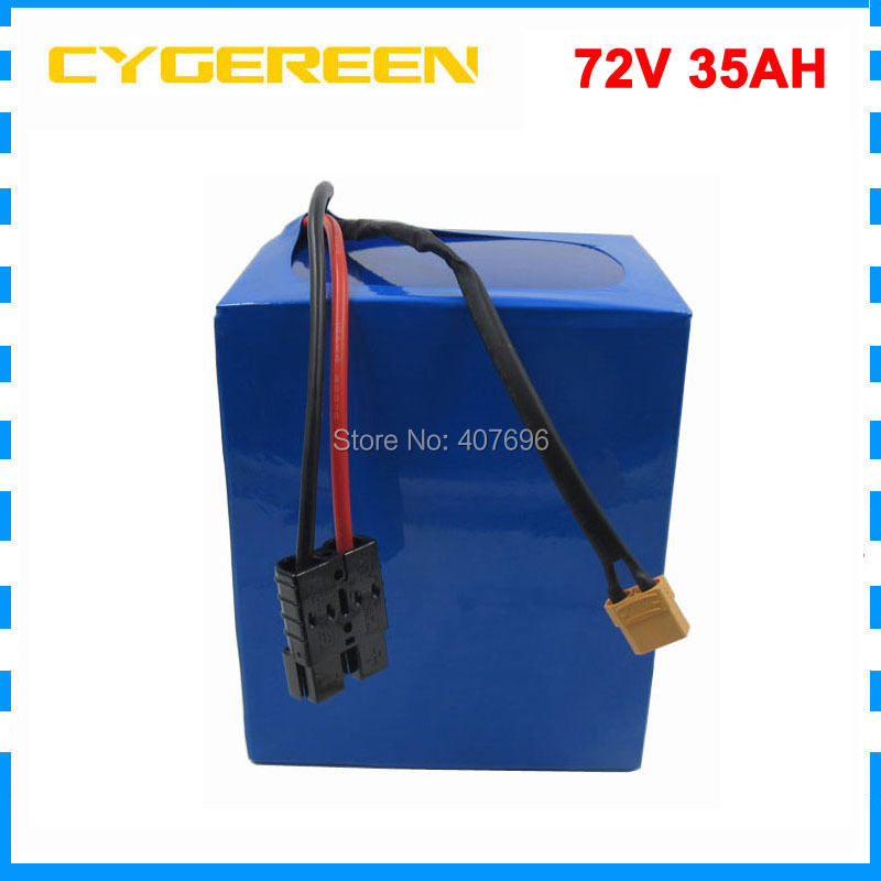 Free customs duty 2500W 72V 35AH Electric bicycle battery 72V ebike tricycle wheelchair battery 35E Cell 40A BMS and 4A Charger