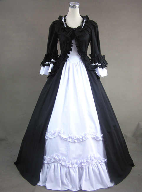 18th Century Gothic Victorian Lolita Dresses Retro Long Flare Sleeves Stage Ball Gowns For Women Customized Theater Costume