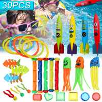 30Pcs/set Summer Torpedo Rocket Throwing Toy Funny Swimming Pool Diving Game Toys Children Underwater Dive Toy