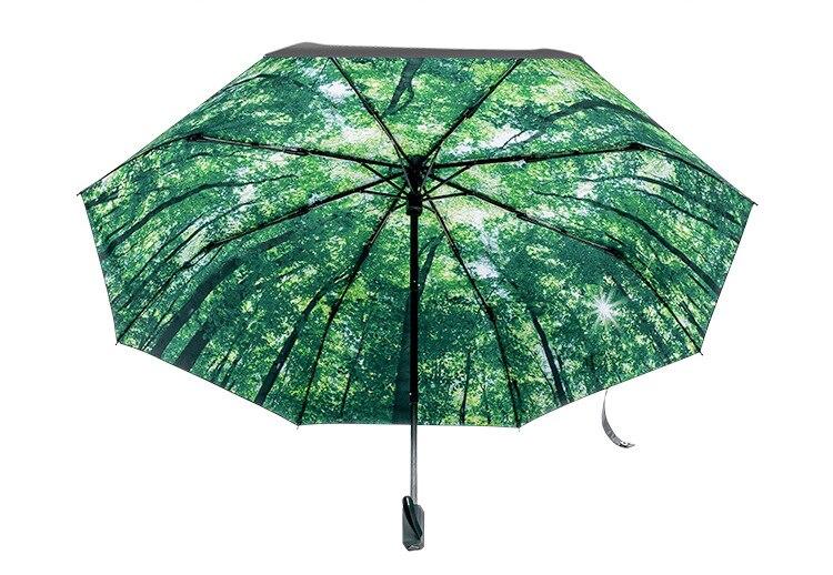 Vert haute qualité Anti-UV noir revêtement magique parapluie créatif nouveauté forêt marche trois pliant ensoleillé pluvieux parapluie Z598 - 6