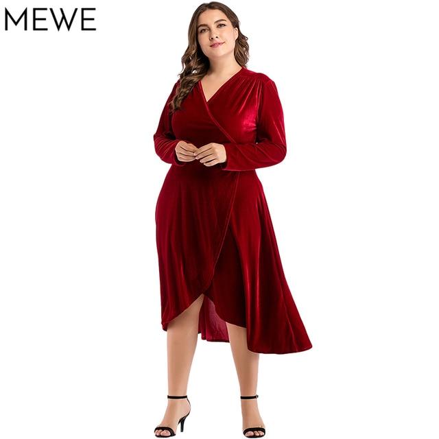 63ebc4639b4d Red Dress Women Plus Size Winter Velvet Dresses 4xl V neck Autumn Elegant Midi  Dress Long