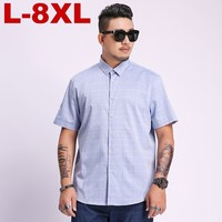 8xl 7xl 6xl 5xl plus size Plaid Short Sleeve Shirts For Men Painting Large Size Casual Top Blouse Turn Down Collar Men Cloth