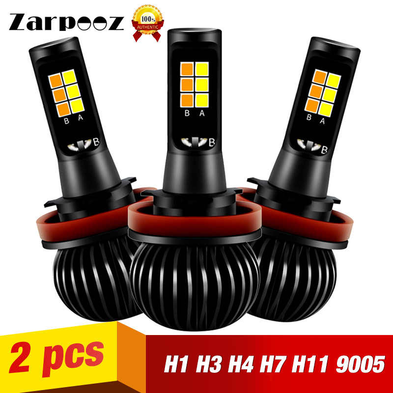 Zarpooz Fog Led Light H1 H3 H4 LED H7 H8 H10 H27 HB4 X5 Car LED Two Color Fog Lights Universal Yellow And White Car Led Bulb