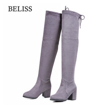 BELISS Flock Leather Women Over The Knee Boots  Spring Stretch Boots Women High Heels Round Toe Warm Female Shoes Slip On B104 цены онлайн