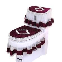 3 pçs diamante veludo toalete de três peças terno conjunto de capa de vaso sanitário elegante laço assento do toalete capa tanque & tampa