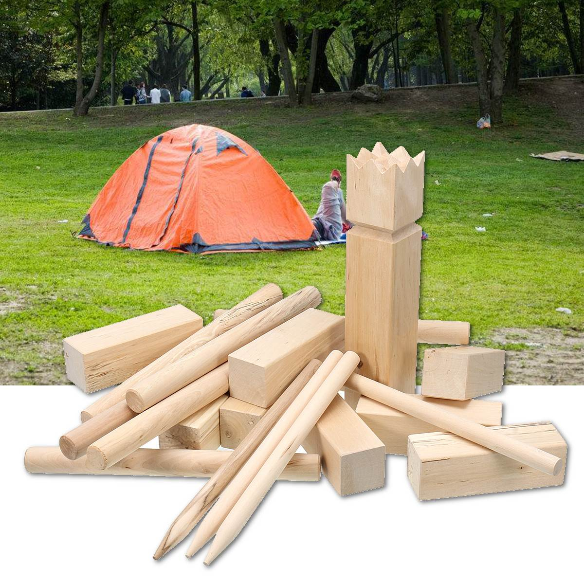 21PCS/Set Outdoor Fun Game Kubb Birch Wooden Family Garden Lawn Game Toy Party Camping Toy Sports Bowling Block Chess Boules21PCS/Set Outdoor Fun Game Kubb Birch Wooden Family Garden Lawn Game Toy Party Camping Toy Sports Bowling Block Chess Boules