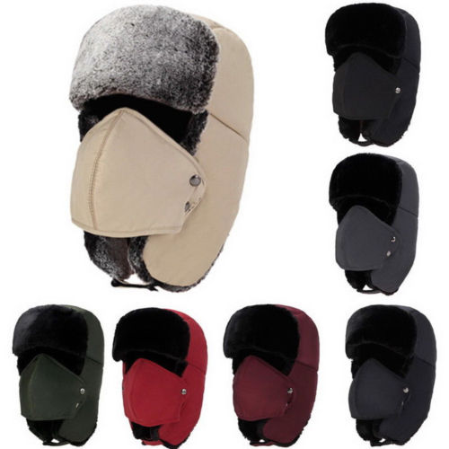 Cap Bomber-Hats Russian Trooper Trapper Winter Ski-Hat Ear-Flaps Women New Unisex Warm