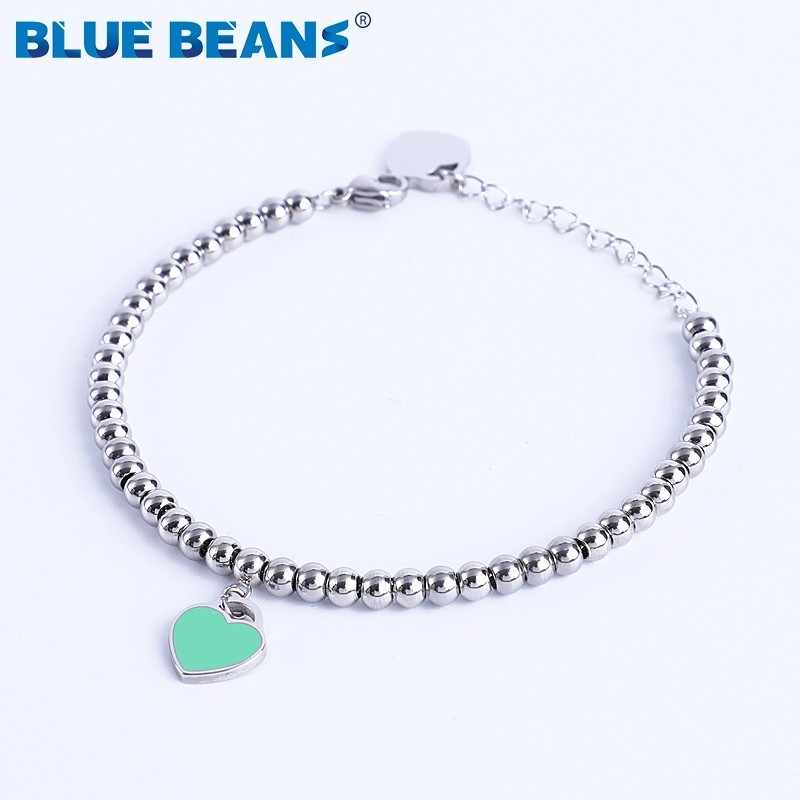 316L Stainless Steel heart Braceler&bracelet For Women Tiff Bead Chain Love Pendant Gold Silver Color Brand Statement Jewelry
