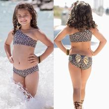 2018 Cute Biquni 3pcs Kids Baby Girl Leopard Bow Bikini Set Swimwear Swimsuit Bathing Suit Kid/Children Two Pieces Swimming Suit
