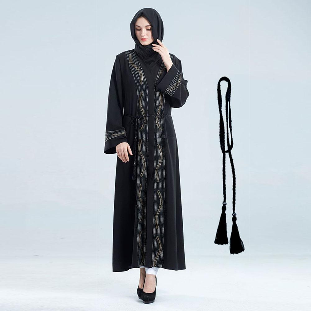 MISSKY Women Muslim Style V Collar Long Sleeve Gown Delicate Rhinestone Elegant Dress Female Clothes