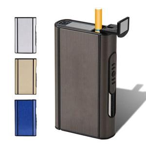 Automatic Cigarette Case Metal Box Windproof Portable Aluminium Alloy Ejection Holder Male Gadgets Capacity 10 Pcs Cigarettes(China)