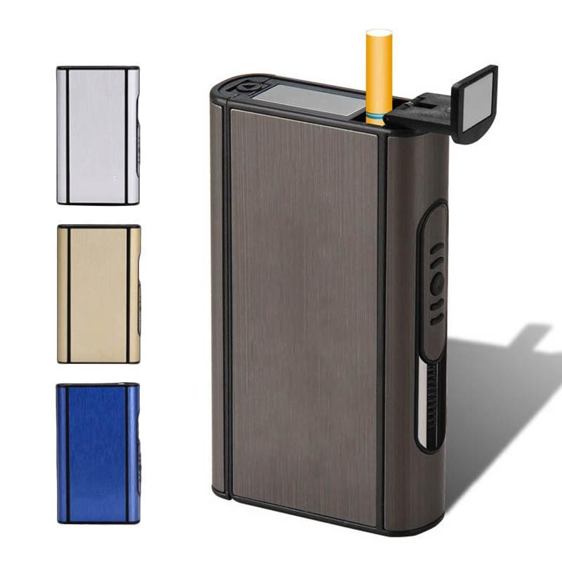 Automatic Cigarette Case Metal Box Windproof Portable Aluminium Alloy Ejection Holder Male Gadgets Capacity 10 Pcs Cigarettes