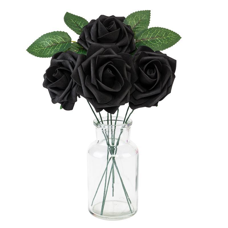 50 pcs artificielle Rose fleurs Mini PE mousse Rose fleur tête à la main bricolage mariage décoration de la maison fournitures de fête et de fête