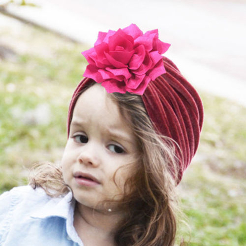 Solid Cotton Velvet Floral Knot Indian Turban Newborn Toddler Boys Girls Warm Soft Cute   Skullies     Beanies