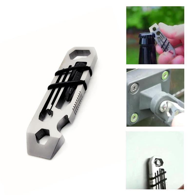 6 In 1 EDC Gadget Multitool Outdoor Camping Equipment Keychain Tool Supplies Bottle Opener Multi-Function Tools Wrench Multitool