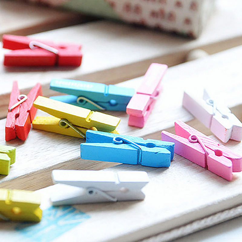 Image 5 - 100PCS/1Set 25mm Mini Color Wooden Craft Pegs Clothes Paper Photo Hanging Spring Clips Clothespins-in Clothes Pegs from Home & Garden