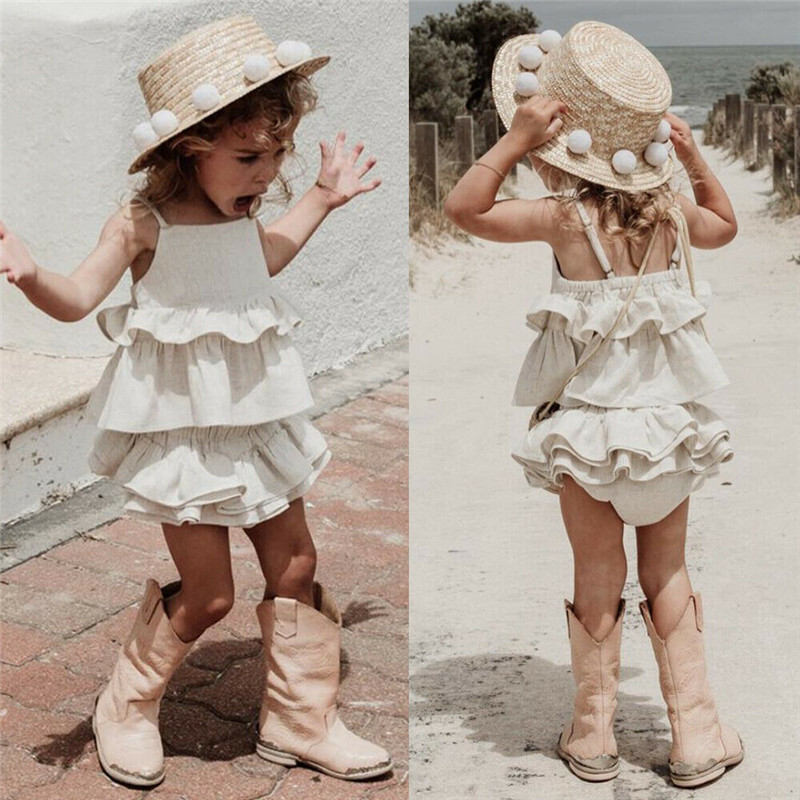 Boho Summer Toddler Kids Baby Girl Ruffle Clothes White Outfits Sleeveless Strap Vest Tops Tutu Shorts Headband 3Pcs Sets 6M-4Y