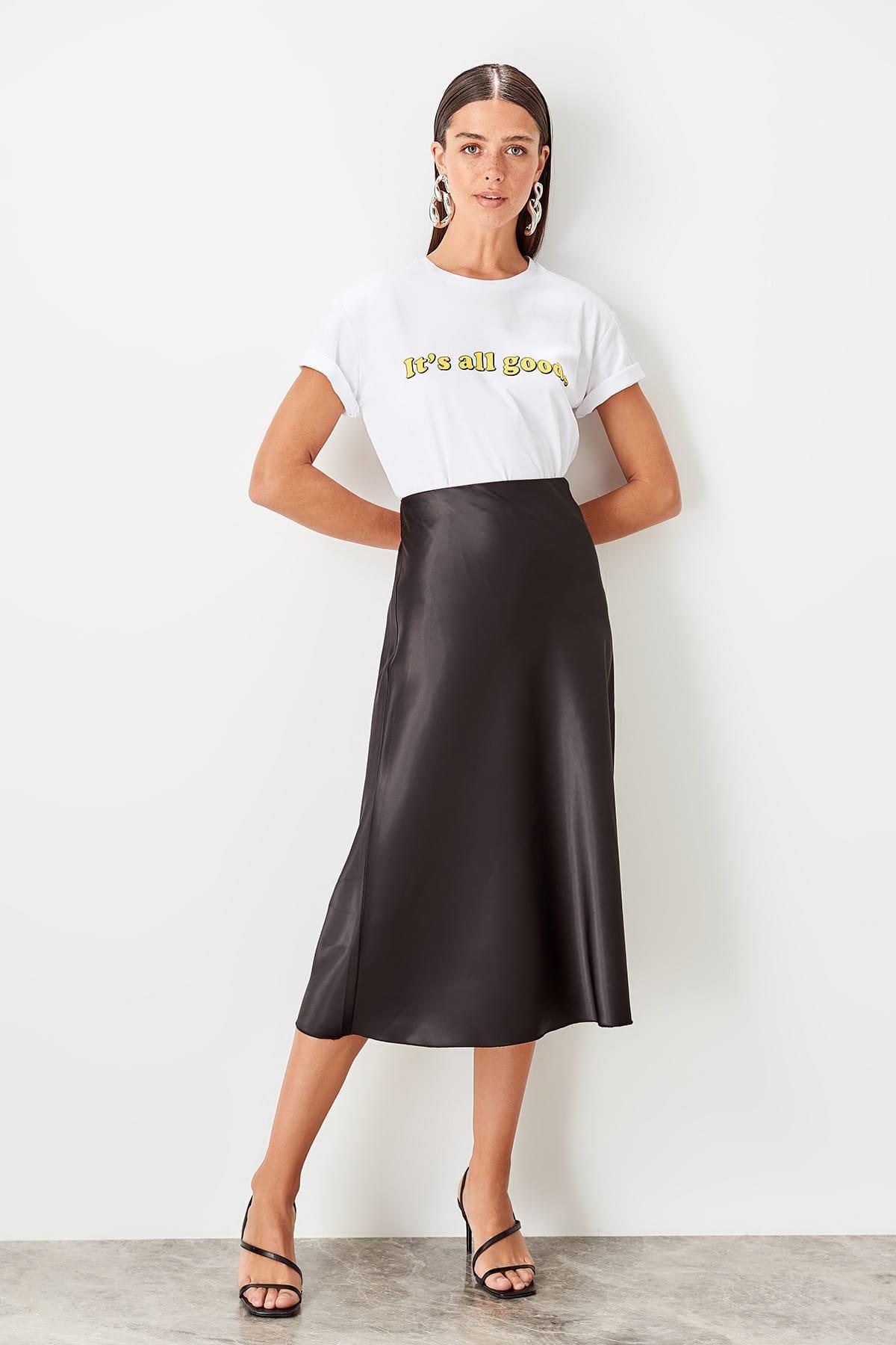 Trendyol Black Satin Skirt TOFSS19WX0013