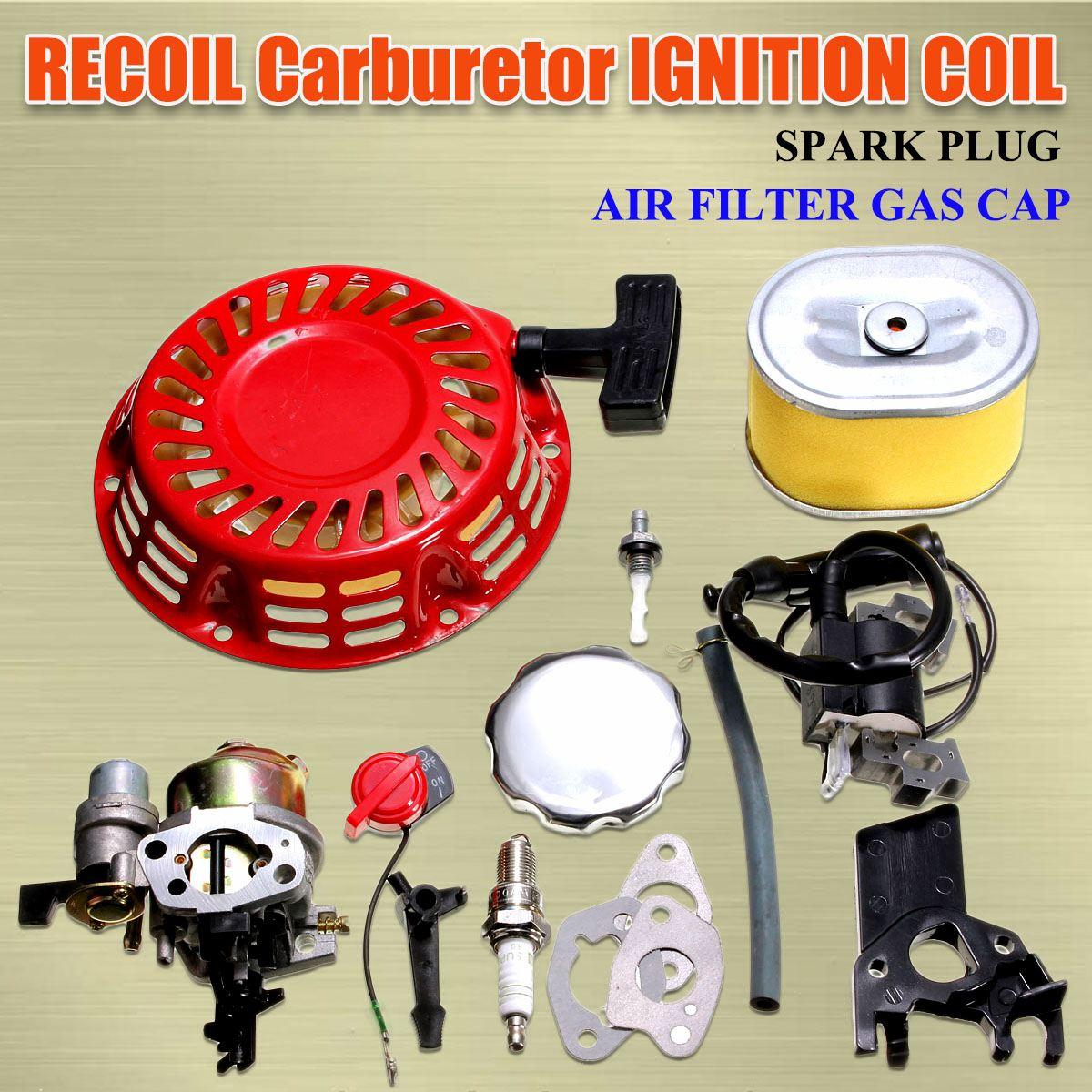 HONDA GX160 GX200 RECOIL CARBURETOR IGNITION COIL SPARK PLUG AIR FILTER GAS CAP