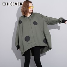 CHICEVER Polka Dot vrouwen Windbreakers O Hals Batwing Mouwen Casual Losse Hit Kleuren Windbreaker Lente Mode Kleding Tij(China)