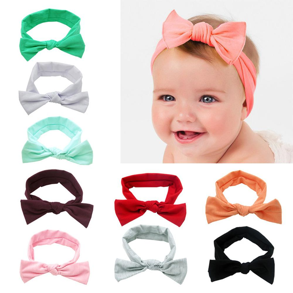 Kidlove Toddlers Baby Girl Elastic Hair Band With Lovely Bowknot Solid Color Bow Headband 9 Colors Available