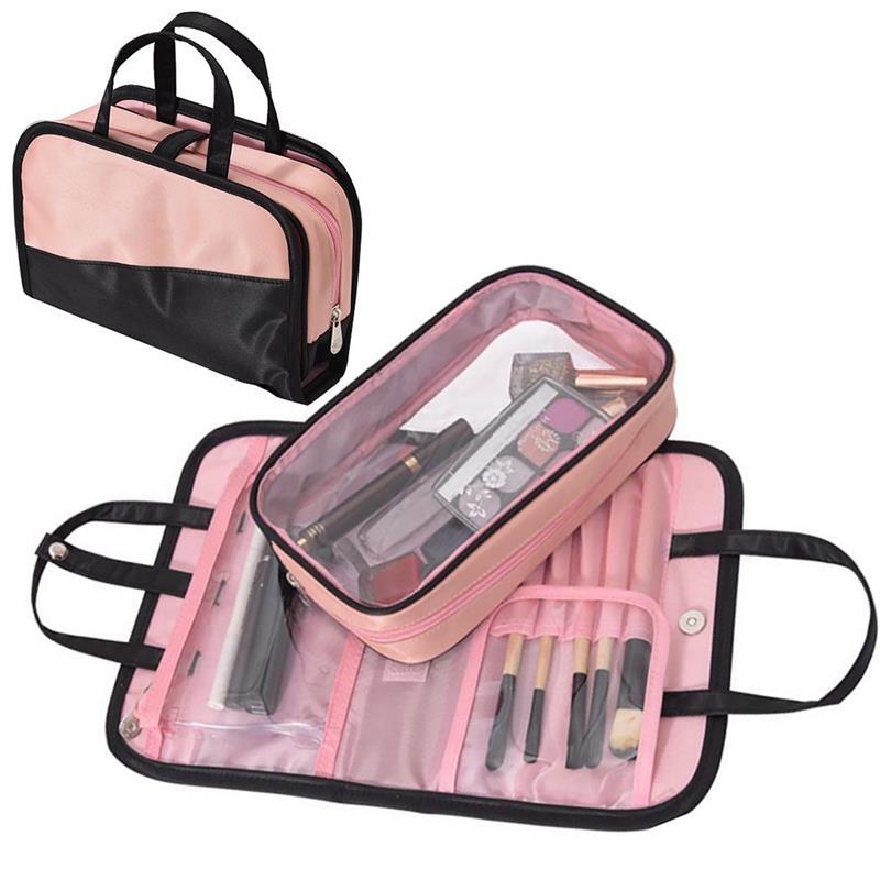 Multifunctional 2 In 1 Portable Makeup Bag Handbag Women Female Beauty Waterproof Cosmetic Pouch Organizer Toiletry Bag Tote