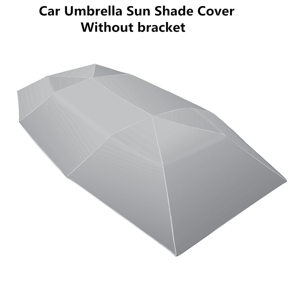 Voiture parapluie soleil ombre couverture extérieure voiture véhicule tente Oxford tissu Polyester couvre 400x210 cm bleu/argent sans support - 5
