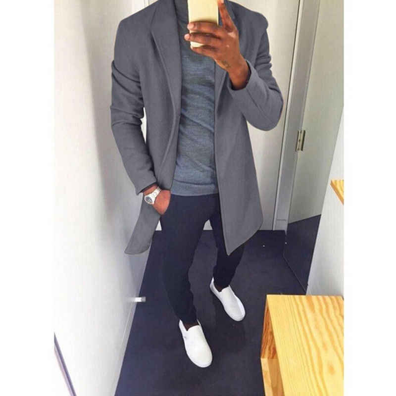 58bff1ba25a Fashion Winter Men s Trench Long Jackets Coats Overcoat Classic Jackets  Solid Slim Fit Outwear Hombre Men