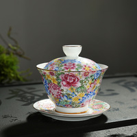 Tureen Teacup Jindezhen Ceramics Tea Set Grilled Flower Three Talents Cup Hand Pastel Wan Hua Tea Bowl Cover