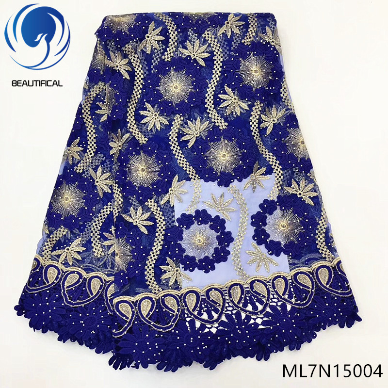 BEAUTIFICAL Royal blue french tulle african party rhinestones net lace with guipure cord fabrics embroidery ML7N150