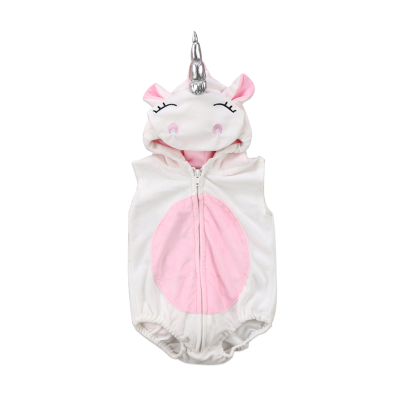 CANIS 2019 New Newborn Baby Girl Unicorn Costume Fleece Bodysuit Jumpsuit Jumper Outfits Costume Cartoon Cute Fashion