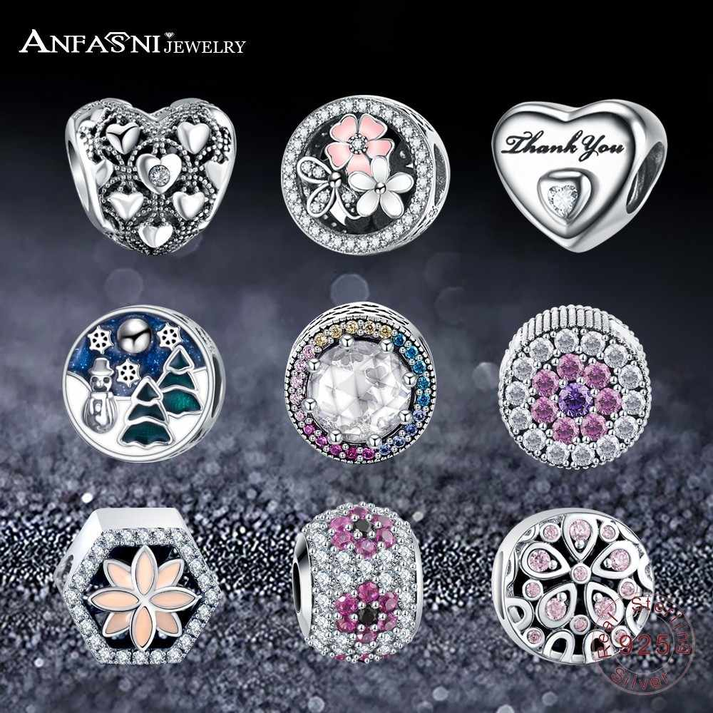 ANFASNI Moda 100% Authentic 925 Prata Esterlina Encantos Bead Com Clear CZ Fit Pandora Original Charm Bracelet para As Mulheres Presentes