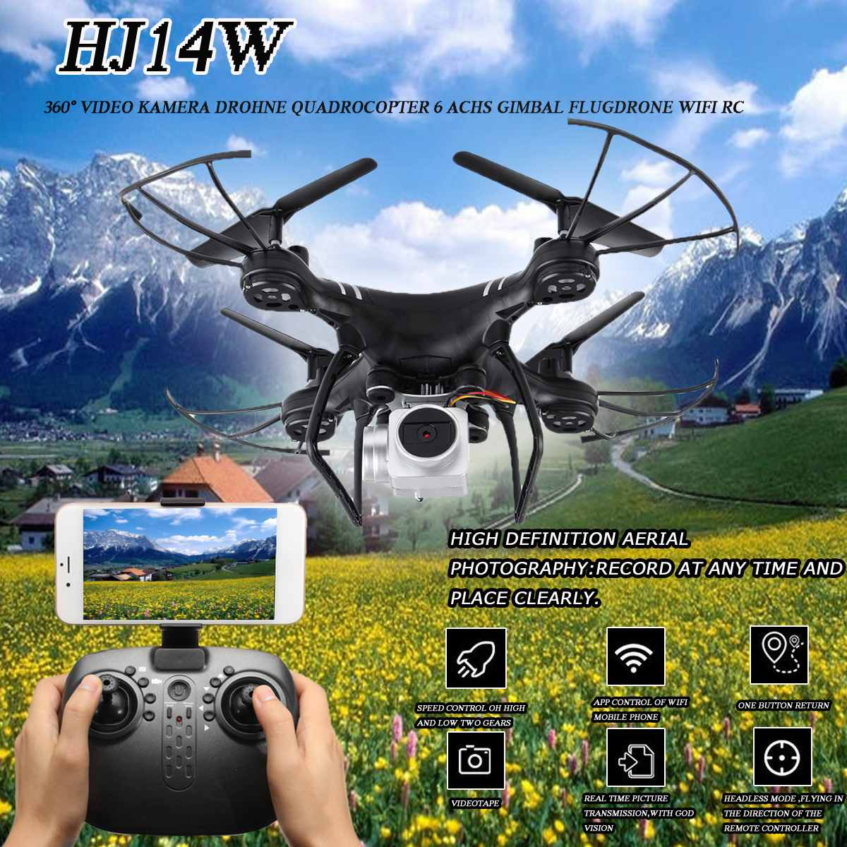 <font><b>HJ14W</b></font> RC Helicopters Wide Angle HD Camera HD FPV Remote Control RC Camera Drone High Hold Mode 2.4GHz WiFi 2MP Six Axis Gyro image