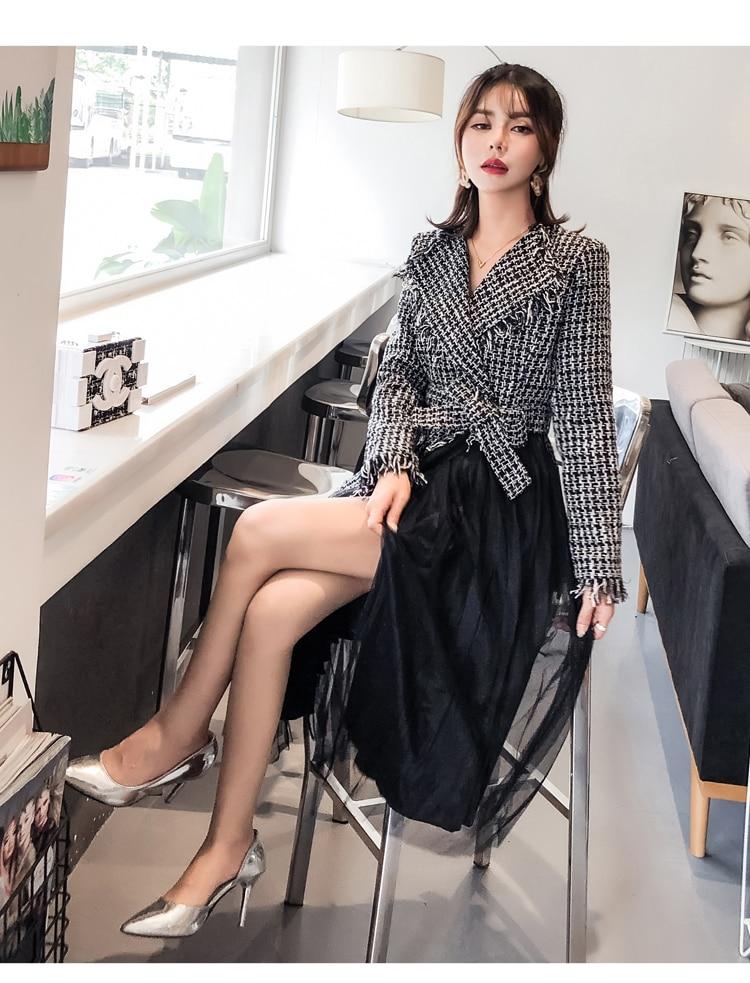Nera Nuovo Picture Vestito I Donne 2018 As Di Tweed Patchwork Lunga Telai  Manica Con Collare Elegante Delle ... 8378beba3dd