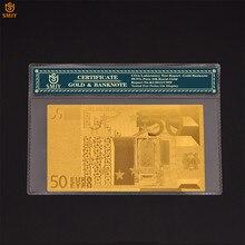 Billets de banque en faux papier plaqué or, 50 euros, 24k, Collection de billets avec cadre COA, cadeaux
