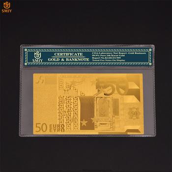 Euro pamiątkowe waluty 50 Euro 24 k pozłacane rachunki fałszywe pieniądze papier złoty kolekcja banknotów z COA ramki prezenty tanie i dobre opinie Europa Patriotyzmu SMJY Banknote European Currency 5 10 20 50 100 200 500 1000 Euro As Real Size Copy Genuine Banknotes