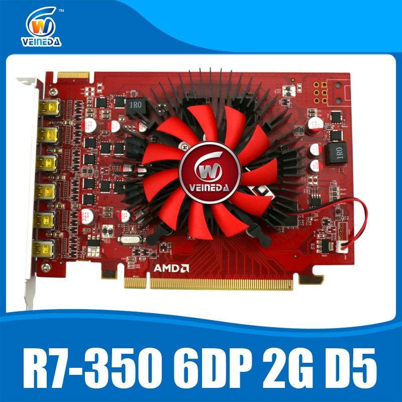 100% новый Veineda R7 350 2 ГБ GDDR5 6DP многоэкранный Дисплей карты мониторы для ATI