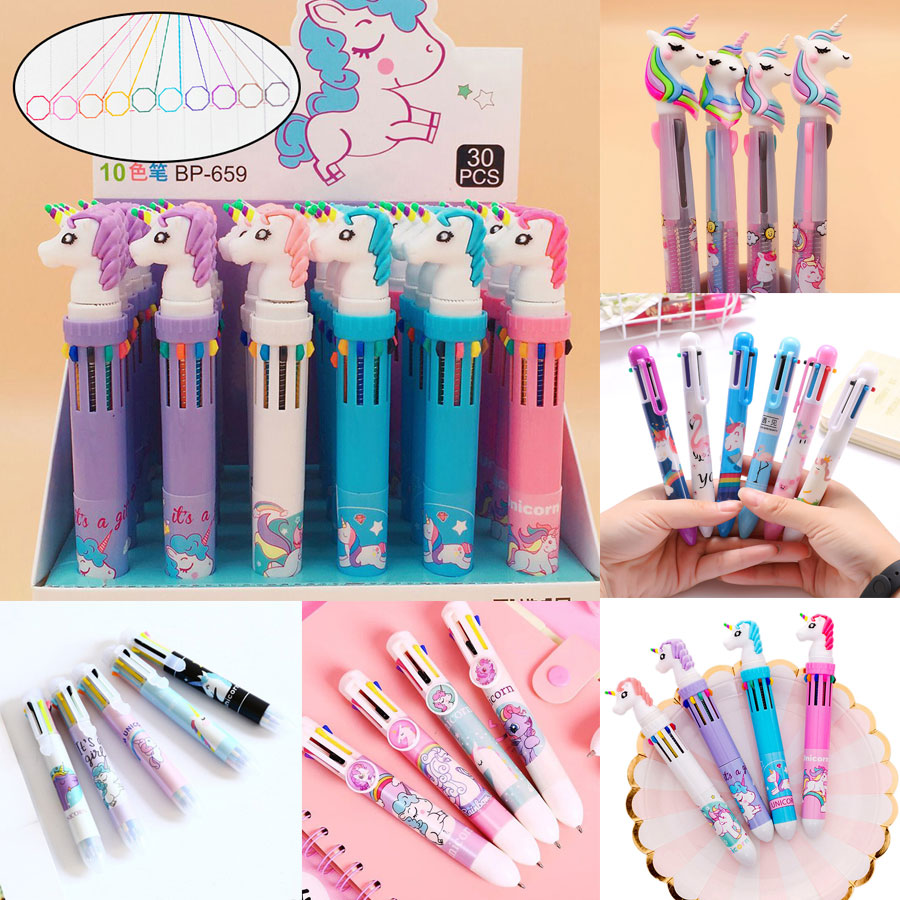 1Pc Cute 3/6/8/10 Colors Unicorn Ballpoint Pen Silica Rainbow Novelty Cartoon Ball Pen For Kids Gift Creative Material Escolar