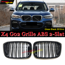 цена на X4 G02 Front Bumper Grille M-style ABS Material Gloss Black G02 X4 SUV Front Bumper Kidney Grills Double Slats X4 Grilles 19-in