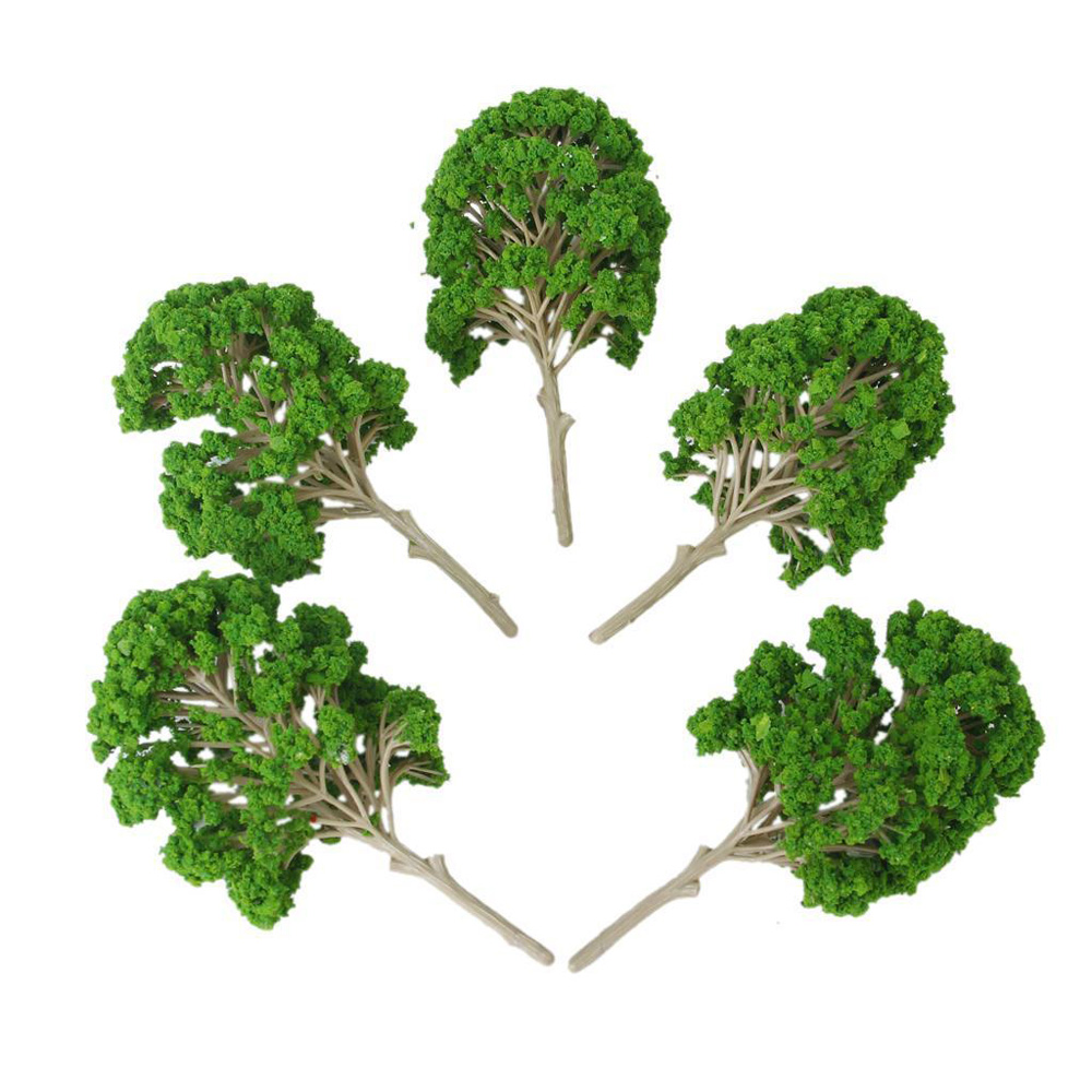 5pcs 1:50-75 Plastic Green Model Trees For Railway Train Park Landscape 14.5cm