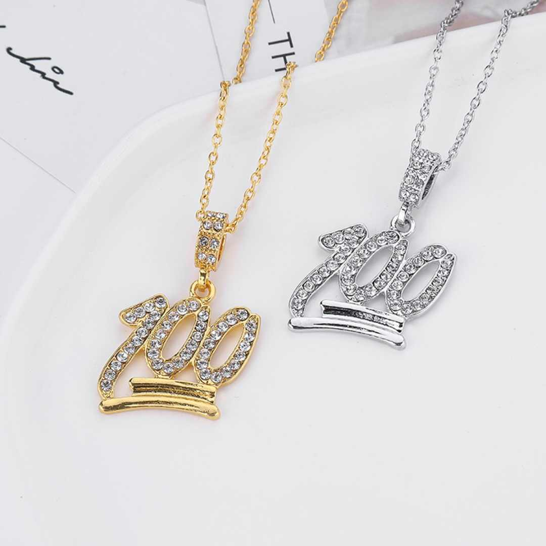 Hip Hop Emoji 100 Pendant Necklace Charming Crystal Rhinestone Pendants & Necklace For Women Men Punk Rock Jewelry