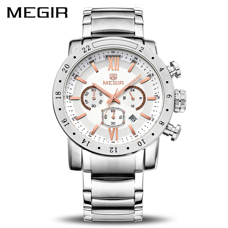 MEGIR Original Quartz Men Watch Stainless Steel Business Wrist Watches Clock Men Big Dial Waterproof Luminous Relogio Masculino