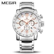 Megir original relógio de quartzo masculino negócios aço inoxidável relógios de pulso masculino grande dial à prova dwaterproof água luminosa relogio masculino