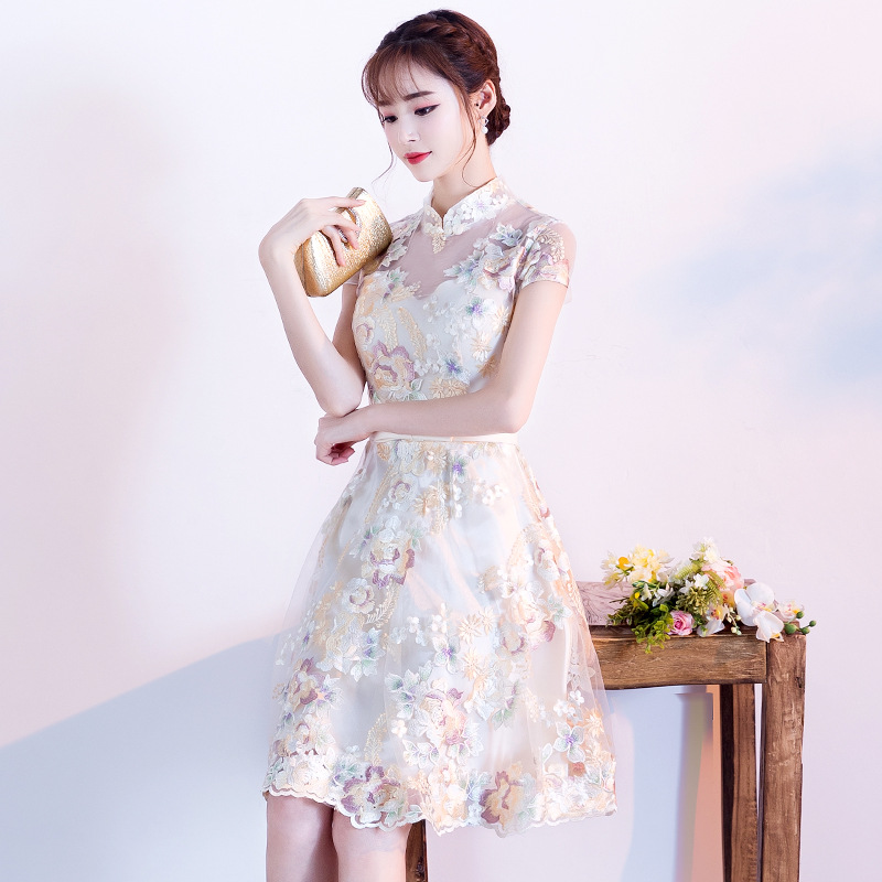 Китайский стиль вышитые женское платье 2019 Элегантный Винтаж цветок вечернее, для вечеринки, короткое платья для женщин принцессы Одежда с в...