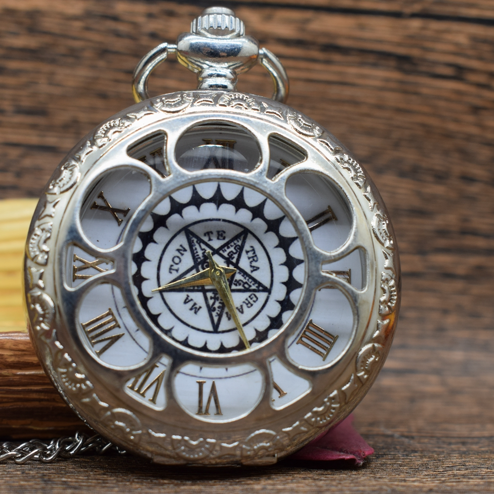 Pocket & Fob Watches  Fullmetal Alchemist Silver Pocket Watch Quartz Stars Watches Japan Anime Cosplay Necklace Watch Gift