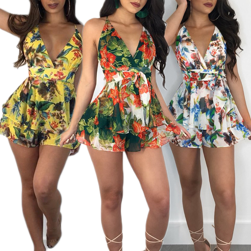 Trendy Summer Women clothes Sleeveless Floral print V neck Playsuit Ladies backless Polyester Romper one pieces Backless Ruffle