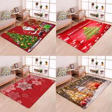 Hot Sale Christmas Floor Mat Santa Claus Flannel Carpet Rug Non Slip Xmas Decor 5 Sizes