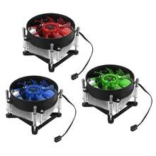 Ultra Quiet Air Cooling Fans 3 Pin CPU Cooler LED Light Red Green Blue Computer Fan Cooling Heatsink for Intel 1150 1155 for AMD(China)